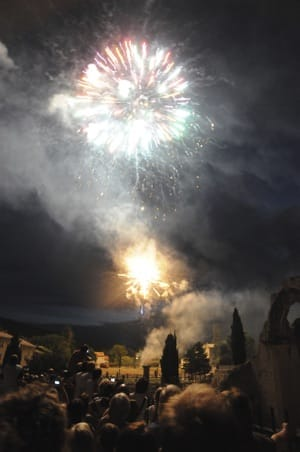 Fireworks show in Vaison la Romaine on July 14th